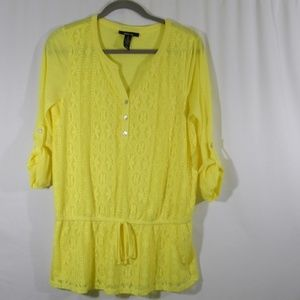 Style & Co Tops - Yellow Style & Co Lace-Front Top